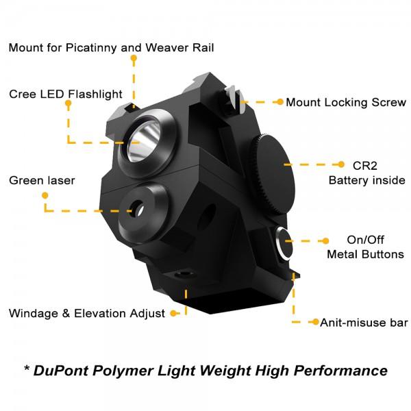 USA LASPUR Mini Tactical Sub Compact Rail Mount Green Laser
